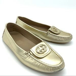 Gucci Light Gold GG Moccasins Loafers